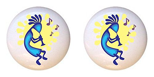 SET OF 2 KNOBS - Kokopelli Design #010 - GF Images - DECORATIVE Glossy CERAMIC Cupboard Cabinet PULLS Dresser Drawer (Kokopelli Cabinet Knob)