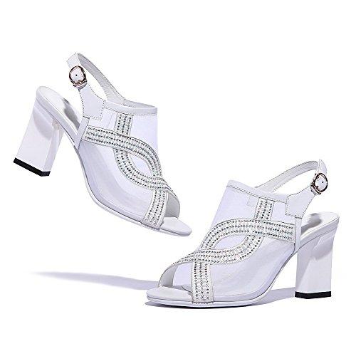 Amoonyfashion Kvinna Spänne Höga Klackar Läder Handgjorda Sandaler Med Dubbade Strass Vita
