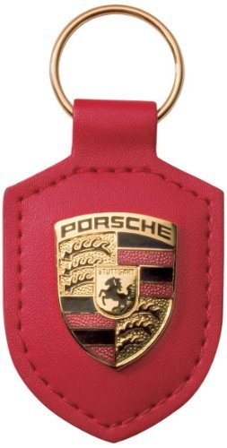 Porsche Leather Crest Keyfob Red