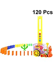 Toyvian Domino Train Toy Set Electric Train Model Domino Game Building Blocks Car Truck Vehicle Early Educational Toy for Kids Playing (Not Battery Pattern 1)