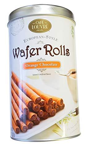 - Cafe Louvre European-Style Wafer Rolls 10oz Tin (Orange Chocolate)