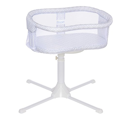 HALO Bassinest Swivel Sleeper Bassinet - Essentia Series, white , Blue ikat (Best Bassinet For Preemies)