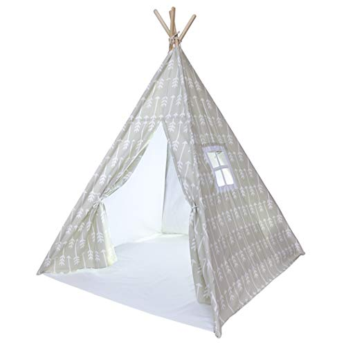 Kids Teepee Tent for Kids, No Toxic Chemicals Added, Carrying Case, Beige Arrows Play Tents Indoor for Boys & Girls, Large Tipi Toddler Dog Baby Boy Adult Children Adults Dogs Childs Reading Nook