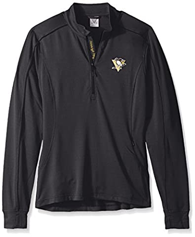 NHL Pittsburgh Penguins Adult Women Women's Pacer Strong Script Half Zip, Medium, Black - Pittsburgh Penguins Jacket