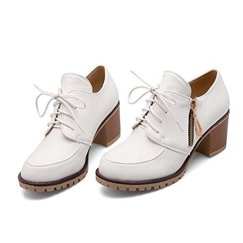 White Closed Zipper WeiPoot Women's Pumps PU Toe Shoes Round Heels Kitten Solid afUq1HwUW