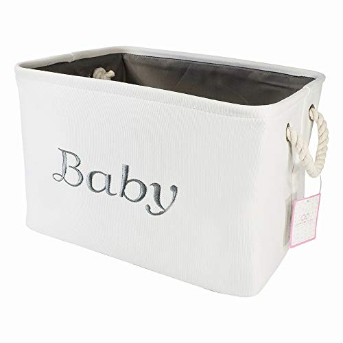 Storage Basket for Nursery, Baby girl or boy, White Canvas fabric Storage Bin with Gray Embroidering. Perfect as Nursery Organizer and Storage, Decorative storage box. Great Baby Shower Basket idea. by Apple Pie Order