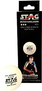 DONIC Stag tre Star Peter Karlsson plastica tennis da tavolo–Dimensioni: 4(3pezzi, bianco)