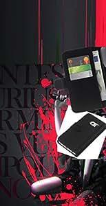LECELL--Cuero de la tarjeta la carpeta del tirón Smartphone Slots Protección Holder For Samsung Galaxy S6 EDGE -- Sangre salpicadura de la muchacha de la historieta --