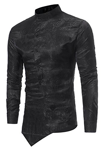 - HOP Fashion Men's Casual Long Sleeve Irregular Longline Hem Slim Fit Paisley Button Down Dress Shirt Bandanna Embrodiery HOPM010-Black-L