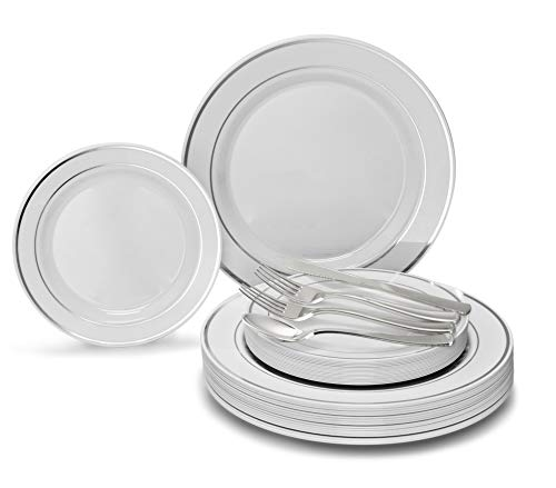 OCCASIONS 150 Piece set / 25 guest - Wedding Plastic Plates & cutlery - Disposable heavyweight dinnerware 10.5'', 7.5'' + Silverware w/double fork (White & Silver rim/trim)