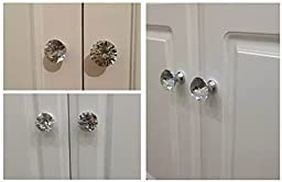 CSKB 12 PCS 30mm Purple Crystal Knob Diamond Cut Door Pull Drawer Handle Cabinet Furniture 8 Colors Available