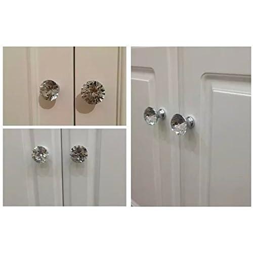 CSKB Black 12PCS 40mm Diamond Shape Crystal Glass Door Knob Drawer Pull Handle for Cabinet Cupboard Wardrobe