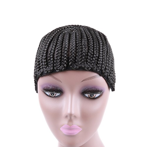 [Cornrow Braided Cap with Adjustable Strip with Combs for Crochet Braids or Weaves without Flipping Out Easier Sew in (2] (Cornrow Wigs)