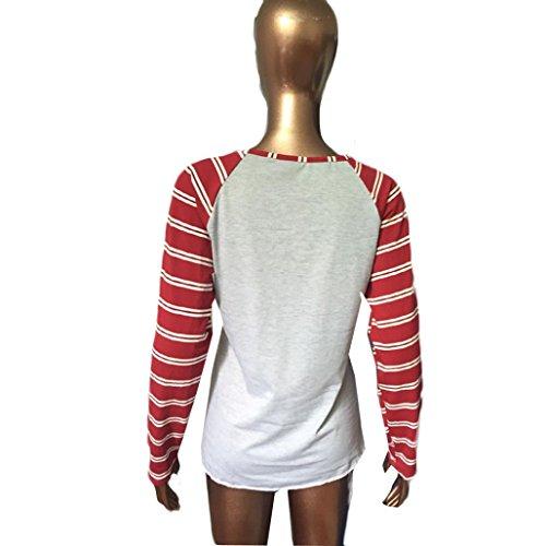 Bekleidung Longra Frauen Mode Rundhals Bluse Baumwolle Langarmshirts lässigen T-Shirts Tops
