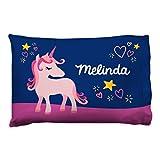 ChalkTalkSPORTS Personalized Girls Pillowcase | Unicorn with Custom Name | Navy