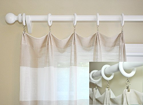 White Wood Curtain Rod Rings with Pinch a Pleat Clips and Ripple Pleat Chains-7 Pack (For a 1 3/8 Pole) by Curtain Rod Connection (Image #6)