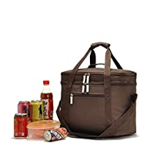 Extra Large Thermal Cooler Insulated Cooler Bag Outdoor 2 Layers Picnic Storage Bag Brown