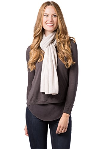 Fishers Finery Women's Cashmere Cable Knitted Scarf; Perfect Gift - Cable Cashmere 100%