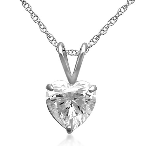 "- Jewelili 10kt White Gold 7x7mm Heart Swarovski Zirconia Solitaire Pendant Necklace, 18"" Rope Chain"