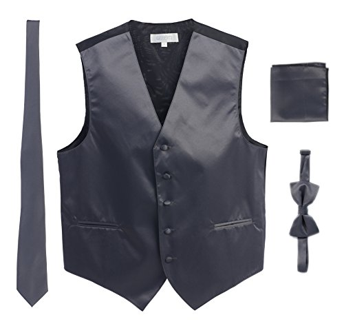 Gioberti Men's Formal Vest Set, Bowtie, Tie, Pocket Square, Charcoal, Large