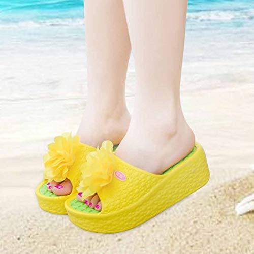 Jaune Sexy D'été Sandales Beikoard Chaussures Plage À Semelles chaussures Argent Lacets Femmes De Talon Sport Épaisses Chaussures nTw8afq685