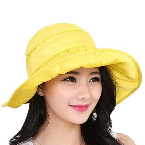 l Flap Cap UPF 50+ Cotton Sun Hat Neck Cover Cord for Women (Yellow) ()
