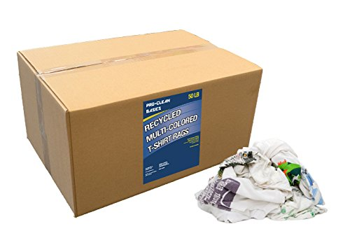 Pro-Clean Basics A99704 Recycled Multicolored T-Shirt Cloth Rags, 50 lb. Box
