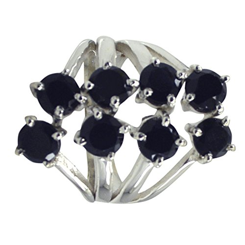 Gemsonclick Natural 925 Silver Black Onyx Ring Round Shape Cluster Setting Handmade Size 5,6,7,8,9,10,11