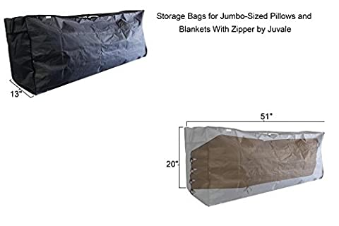 Storage Bags for Jumbo-Sized Pillows and Blankets With Zipper 51 x 13 x 20 Inches