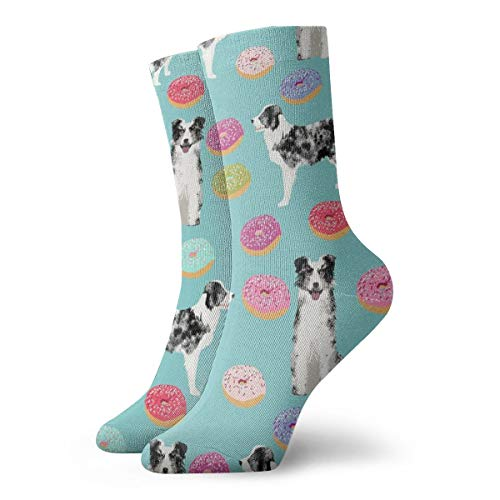 Mens and Women Patterned Dress Socks Border Collie Fabric Dog Fabric, Dogs Fabric, Pet Dog, Donuts, Donut Fabric, Cute Fabric, Pastel Donut Fabric - Light Blue_3216 Colorful Funny Crew ()