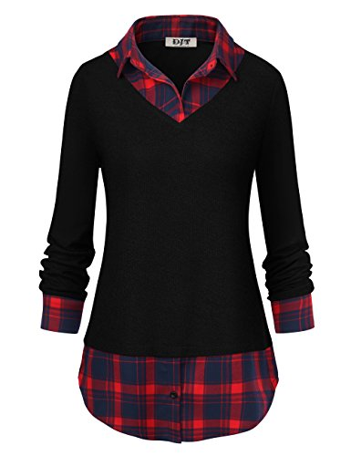 DJT FASHION Womens Autumn Classic Collar Long Sleeve Patchwork Swing Office Blouse Shirts Black T14 M