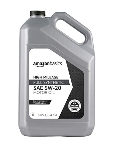 AmazonBasics High Mileage Motor Oil, Full Synthetic, SN Plus, 5W-20, 5 Quart (Best Motor Oil For High Mileage)