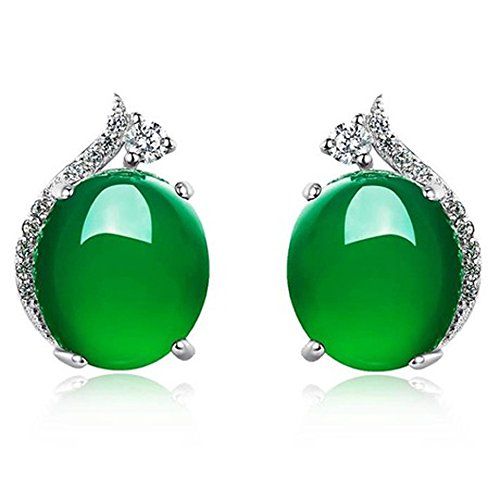 S925 Sterling Silver Earrings Emerald Stud Earrings Agate Stud with CZ for - Glasses Right Find How The To
