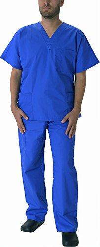 Natural Workwear Uniform Mens Medical Nurse Scrub Set, True Royal Blue 39076-XX-Large