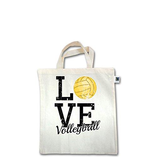 Volleyball - Love Volleyball - Unisize - Natural - XT500 - Fairtrade Henkeltasche / Jutebeutel mit kurzen Henkeln aus Bio-Baumwolle