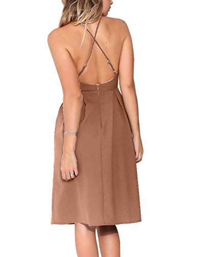 Dress Party Eliacher with Straps Summer Adjustable Backless Women's Mocha V Sexy Neck Deep Spaghetti Pocket Sleeveless Dresses 7w8qr7