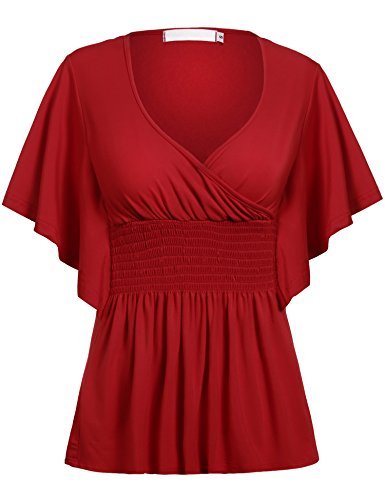 Beyove Women Slimming V-Neck Short Batwing Sleeve Smocked Empire Waist Tunic Top Red (Empire Waist V-neck Tunic)