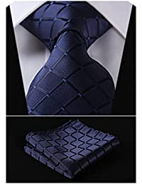 Plaid Tie Handkerchief Woven Classic Stripe Men's Necktie & Pocket Square Set