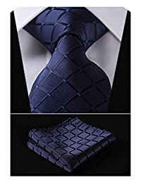HISDERN Plaid Tie Handkerchief Woven Classic Stripe Men's Necktie & Pocket Square Set