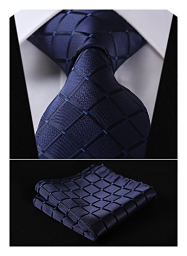 HISDERN Plaid Tie Handkerchief Woven Classic Men's Necktie & Pocket Square Set (Navy (Mens Necktie Tie)