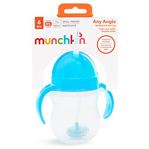 41LjtIRDP5L - Munchkin Any Angle Click Lock Weighted Straw Trainer Cup, Blue, 7oz