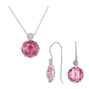 925 Sterling Silver Pink CZ Charm Pendant Necklace Earrings Set