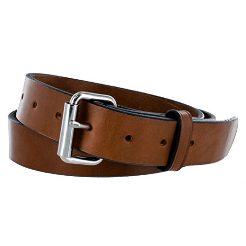 Hanks Gunner - USA Made Concealed Carry CCW Leather Gun Belt - 100 Year Warranty - 14 Ounce - Oak - 42