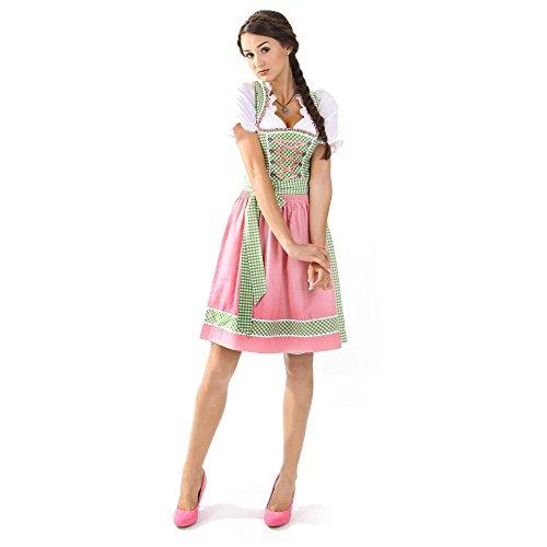 Almbock Exclusive Dirndl kurz Lucie grün-pink in Gr. 34 36 38 40 42 - grün-weiß kariert mit rosa Dirndl-Schürze