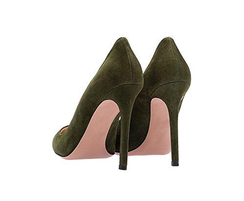 Tummanvihreä Teräväkärkiset Pumput Stiletto Liiketoiminnan Qianzulian Naisten Kengät Hiomista Seksikäs Korkokengät Toimiston O1xzxqHR