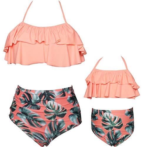 Two Piece Bathing Suits for Womes, Colorful Floral Printing T-Back Beach Tankini Swimsuits for Kids XL Coral Orange -