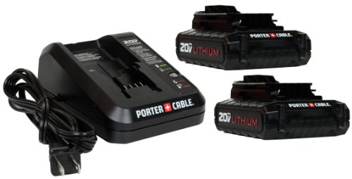 Porter Cable PCC681L 20V Li-ion Battery 2 Pack and One PCC691L Li-ion Battery Charger by PORTER-CABLE