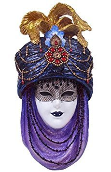12.5 Inch Wall Plaque Purple Turban White Mask Decor Collectible (Face Wall Art Mask)