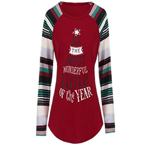 iLUGU Women Letter Christmas Tree Printed T-Shirt Round Neck Loose Blouse Casual Tops with Stripe Long Sleeve