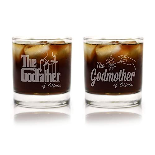 Godparent Baptism Gifts - Personalized Premium Etched Godparent Whiskey Glass Gift Set